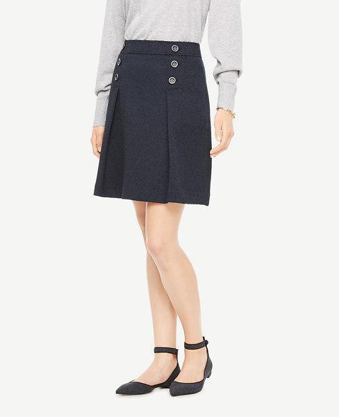 Ann Taylor Petite Tweed Button Skirt In Atlantic Navy