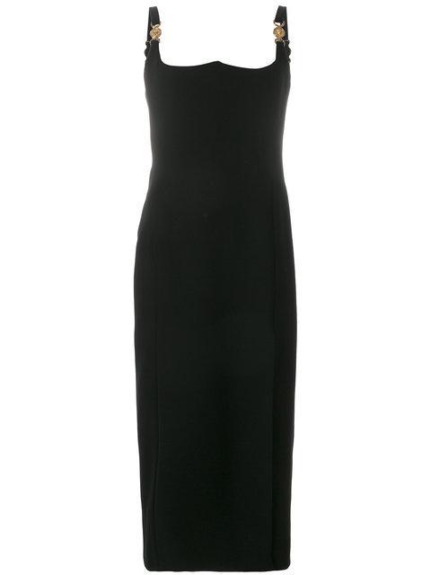 Versace Silk Midi Dress In Black