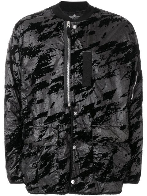 Stone Island Shadow Project Printed Button Bomber Jacket In Black