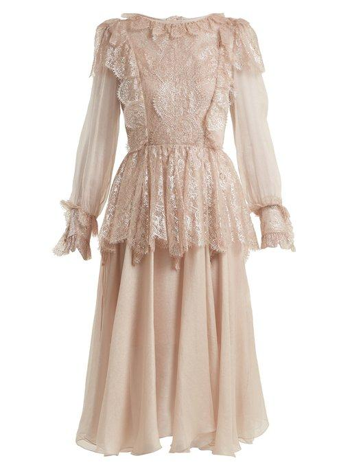 5f90af7f9f9 Maria Lucia Hohan - Fleur Lace Trimmed Silk Mousseline Dress - Womens -  Light Pink