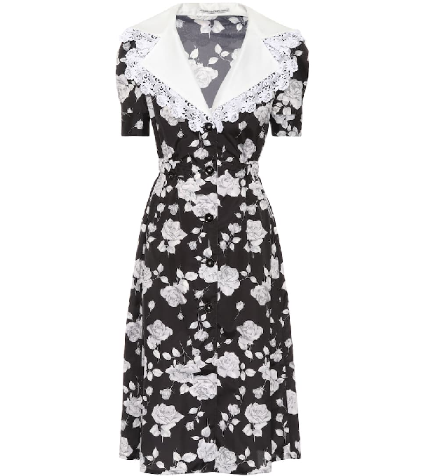 Alessandra Rich Rose-Print Lace-Trimmed Dress In Black
