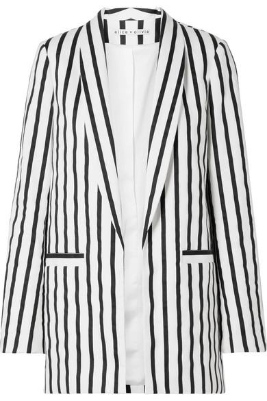 Alice And Olivia Alice + Olivia Kylie Striped Open-Front Blazer In Black