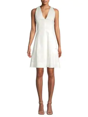 Elie Tahari Selene V-neck Linen-blend Dress In White