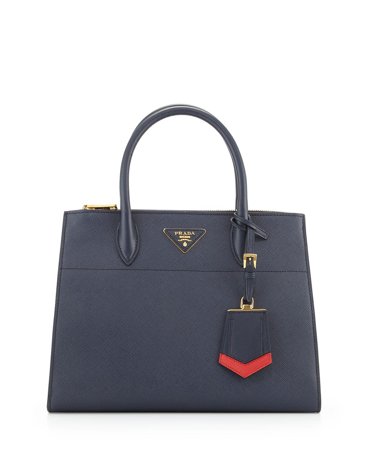 19dce7983289 Prada Medium Saffiano Greca Paradigm Tote Bag In Navy Red White ...