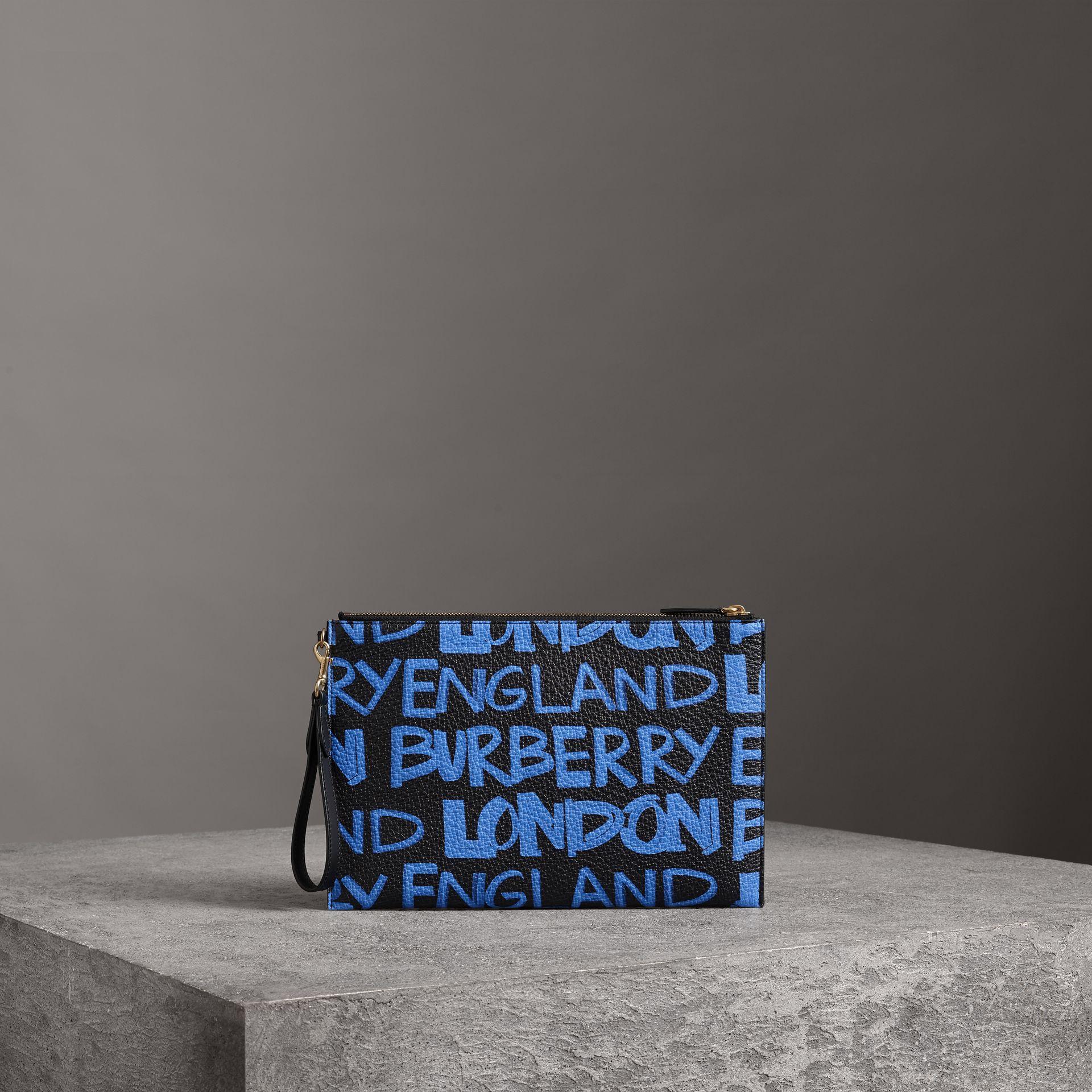 Burberry Graffiti Print Leather Zip Pouch In Blue/Black
