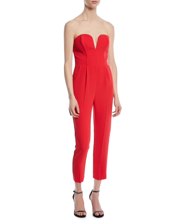 bf814bf8e1f2 Amanda Uprichard Cherri Strapless Cropped Jumpsuit In Red