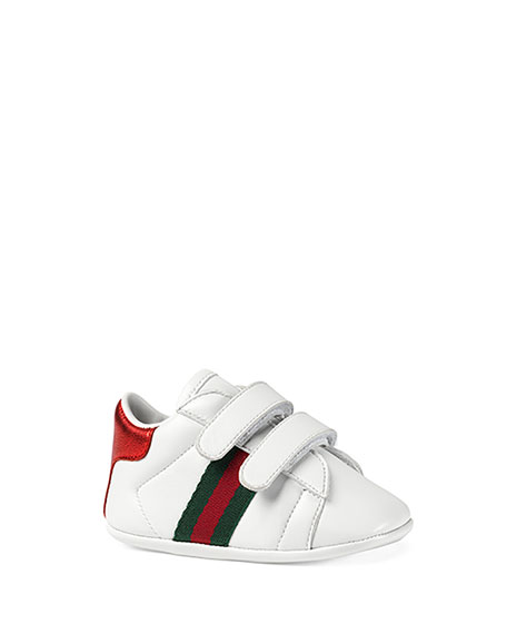 daa6e922a Gucci New Ace Leather Grip-Strap Sneaker, Baby In White | ModeSens