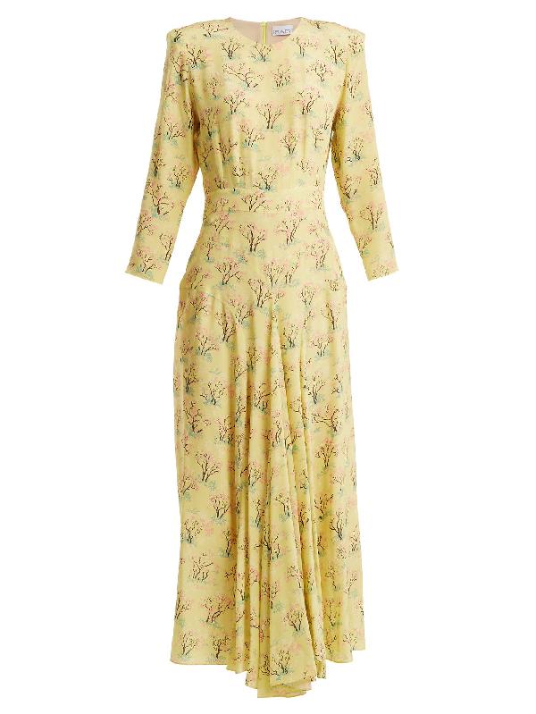 Raey Bracelet-sleeve Acid Tree-print Silk Dress In Yellow