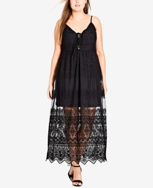 City Chic Trendy Plus Size Festival Fun Embroidered Lace Maxi Dress In Black