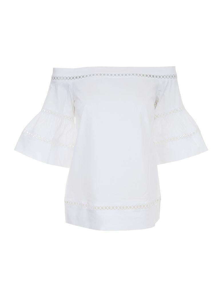 Michael Michael Kors Embroidered Cotton Top In Whitebianco