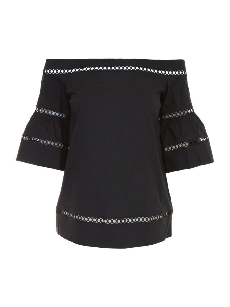 Michael Michael Kors Embroidered Cotton Top In Blacknero