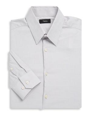 Theory Solid Slim Fit Shirt In Grey Skies