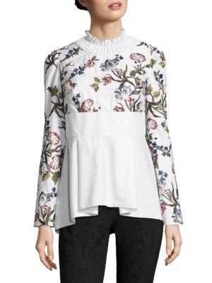 8dbbc616491ce4 Erdem Miriam Peplum Bell-Sleeve Top In White | ModeSens