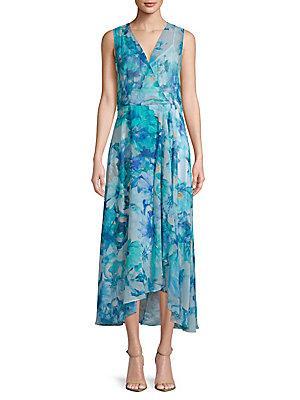 Calvin Klein Floral Wrap Dress In Lagoon Multi