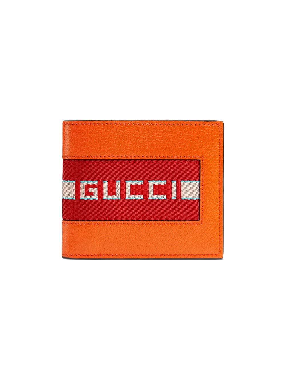f6c3f35b3711 Gucci Orange Canvas Stripe Leather Wallet | ModeSens