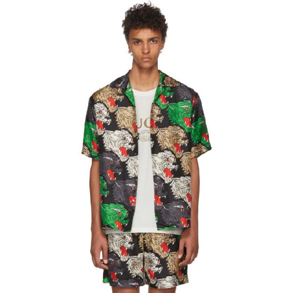 b218c0fda4a2 Gucci Men's Multicolor Panther-Print Silk Shirt, Black In ...