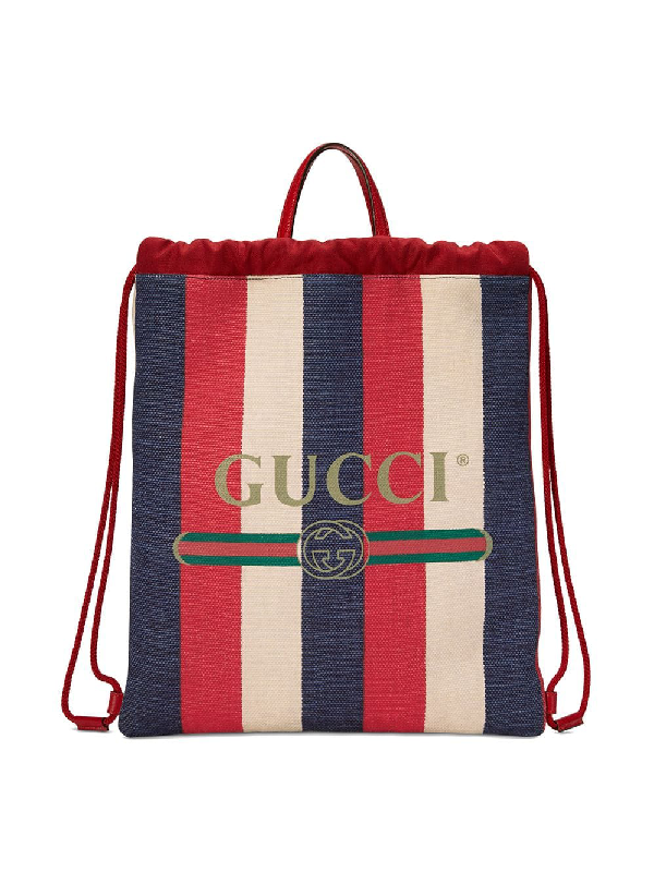 66b7664d200750 Gucci Leather-Trimmed Printed Canvas Backpack In Red | ModeSens