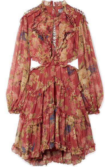 43db7f20d09d1 Zimmermann Melody Cutout Floral-Print Silk-Crepon Mini Dress In Burgundy