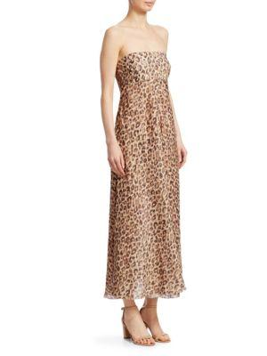 Melody Strapless Dress In Leopard