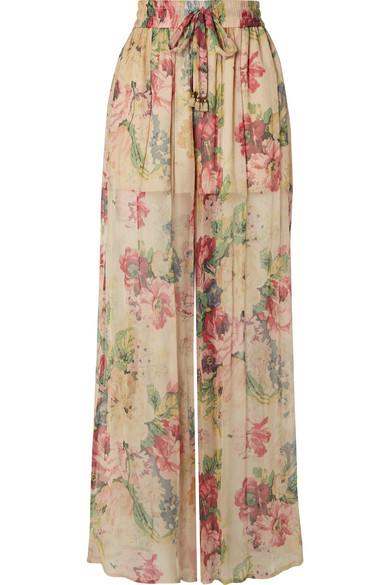 Zimmermann Melody Floral-Print Silk-Crepon Wide-Leg Pants In Beige