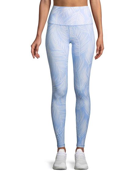 5dfb57164dfdb Spiritual Gangster High Vibe Printed High-Waist Leggings In Blue Pattern