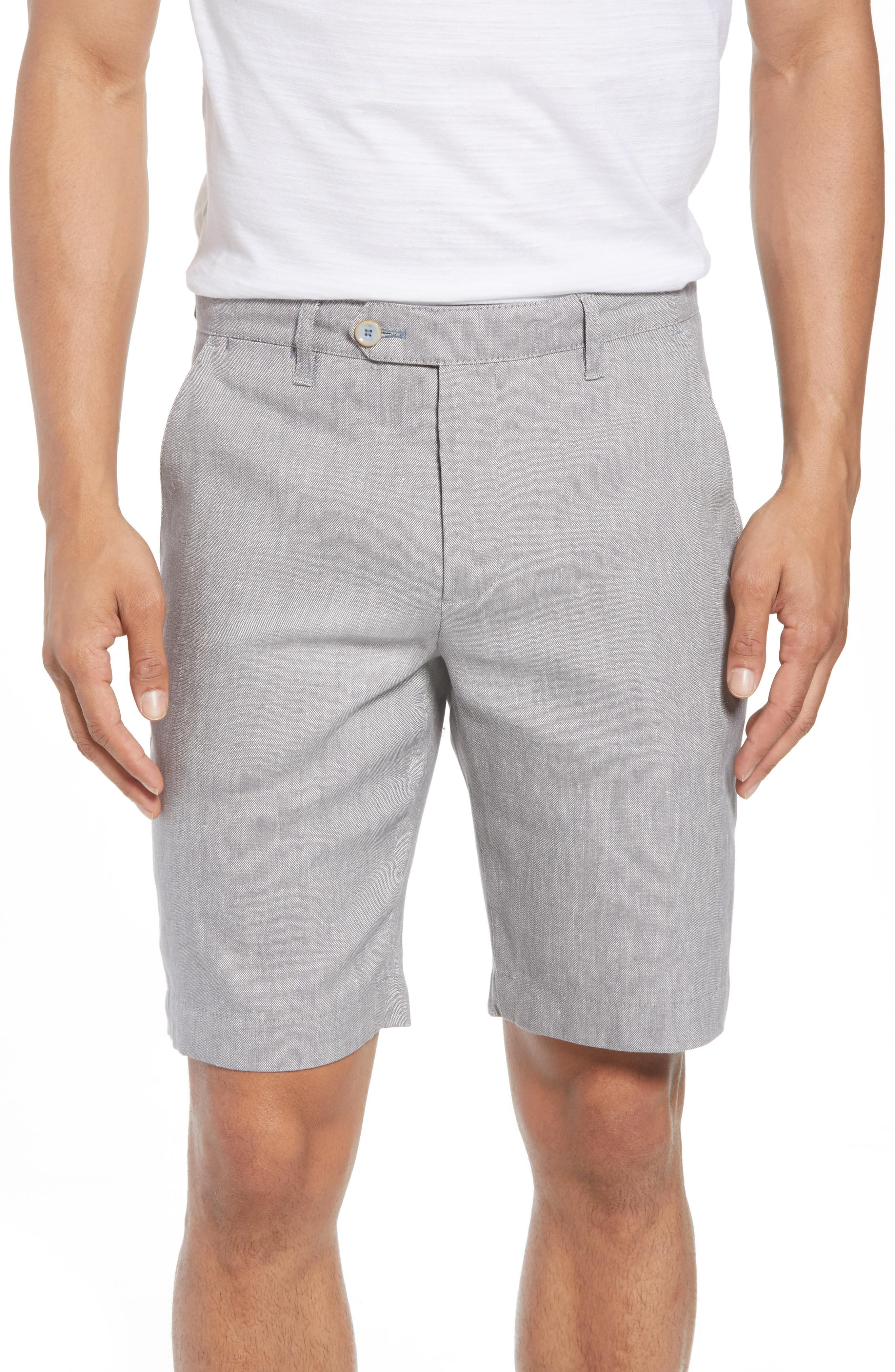 Ted Baker Newshow Flat Front Stretch Cotton Blend Shorts In Grey