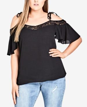 7a43f20f87cd3 City Chic Trendy Plus Size Lace-Trim Cold-Shoulder Top In Black ...