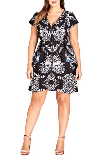 Trendy Plus Size Printed Zip-Front Dress in Mirror Pow