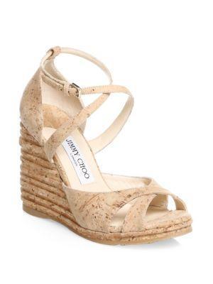7f04b6def3 Jimmy Choo Women's Alanah 105 Cork Platform Wedge Sandals In Natural ...