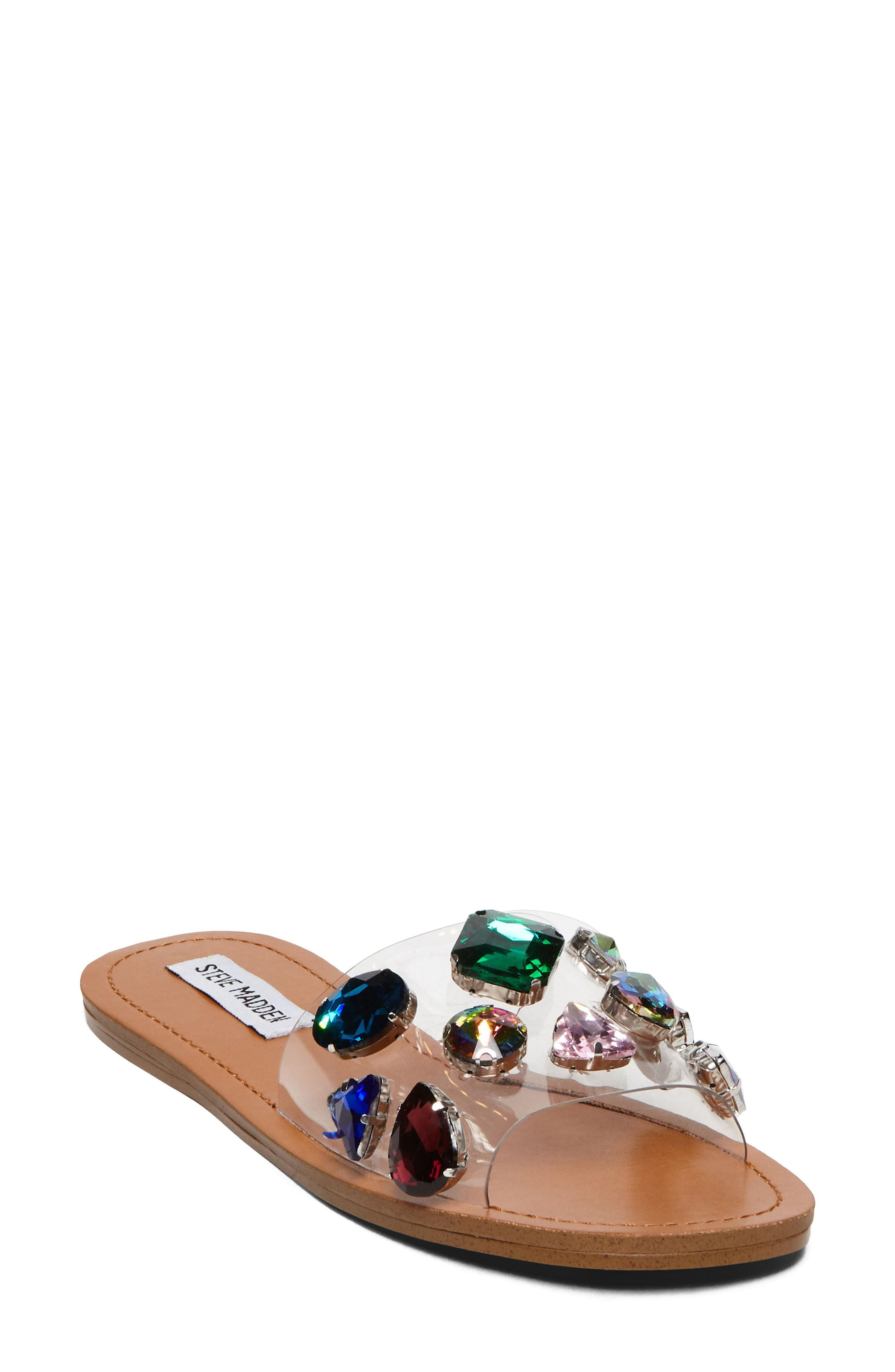 f4c08e6e24c3 Steve Madden Rosalyn Embellished Slide Sandal In Clear