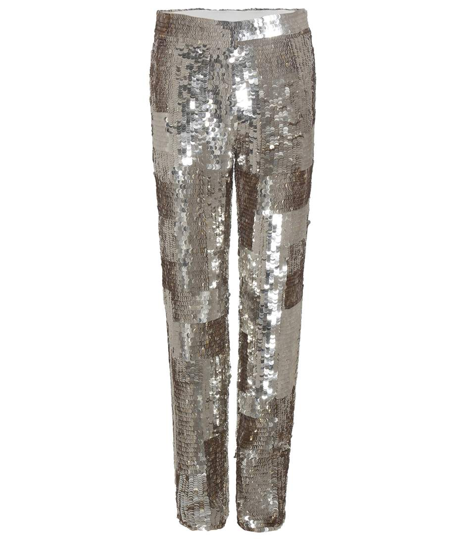 ChloÉ Sequin Embellished Trousers In Silver