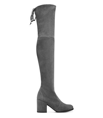 Stuart Weitzman Tieland Suede Over-The-Knee Boots In Asphalt Asphalt