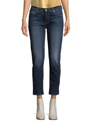 7 For All Mankind Cropped Straight Leg Jeans In Moreno