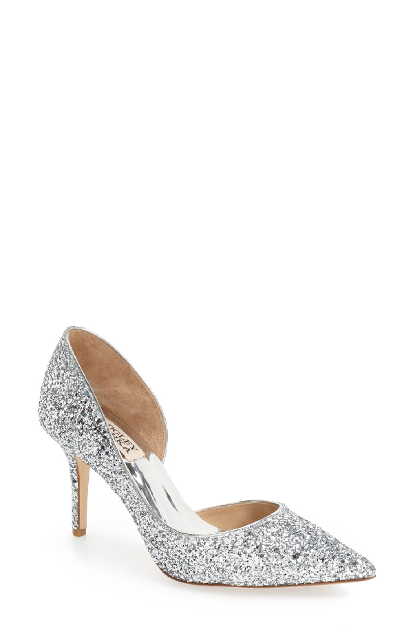 BADGLEY MISCHKA. Daisy Glitter Half D Orsay Pointed Toe Pumps in Silver