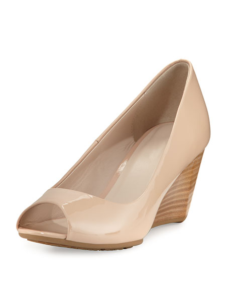 689b2d33db95d Cole Haan Sadie Ot Patent Leather Peep Toe Wedge Pumps In Nude Patent  Leather