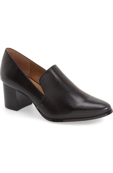 Calvin Klein 'faye' Block Heel Pump (women) In Black Leather
