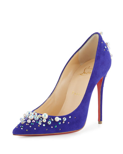 072a8253d52 Candidate Pearly-Embellished Suede Red Sole Pump, Purple Pop