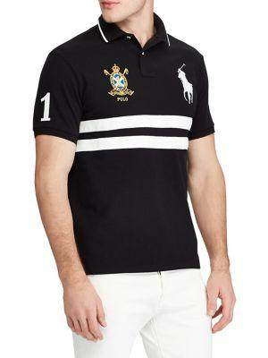15d85501 Polo Ralph Lauren Men's Custom Slim Fit Mesh Big Pony Polo In Black ...