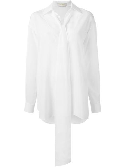 ChloÉ Chloe White Tie Blouse In Nr107 Iconic Milk