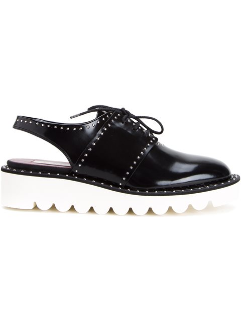 Stella Mccartney Odette Studded Faux Leather Wedge Slingbacks In Black