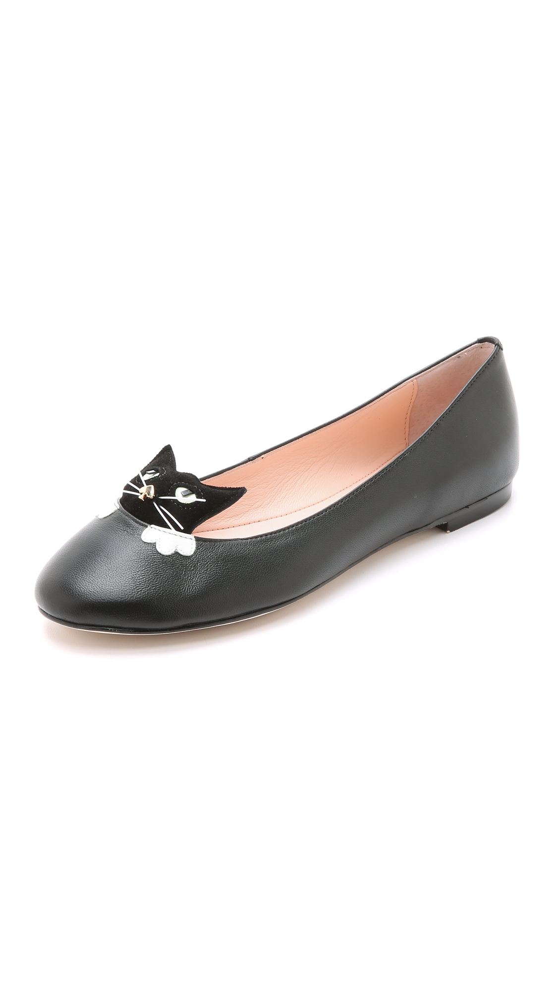Kate Spade Whiskers Cat-Paneled Leather Flats In Black