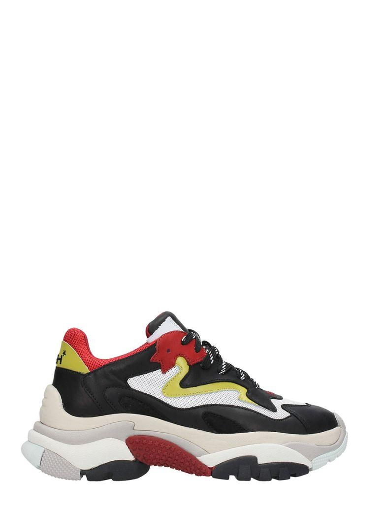 Ash Addict Trainers Black Leather & Red Mesh In Multicolour