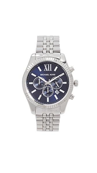 Michael Kors Lexington Watch, 45Mm In Silver