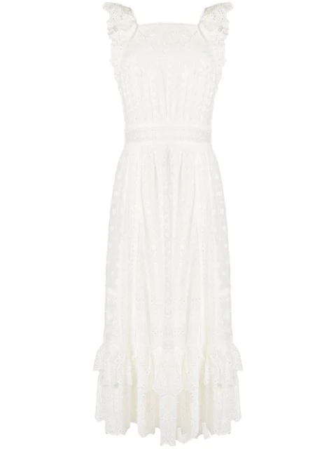 Ulla Johnson Willow Ruffled Broderie Anglaise Cotton Midi Dress In White