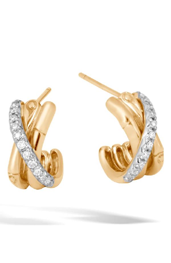 John Hardy 18K Yellow Gold Bamboo Pave Diamond J Hoop Earrings In Gold/ Diamond