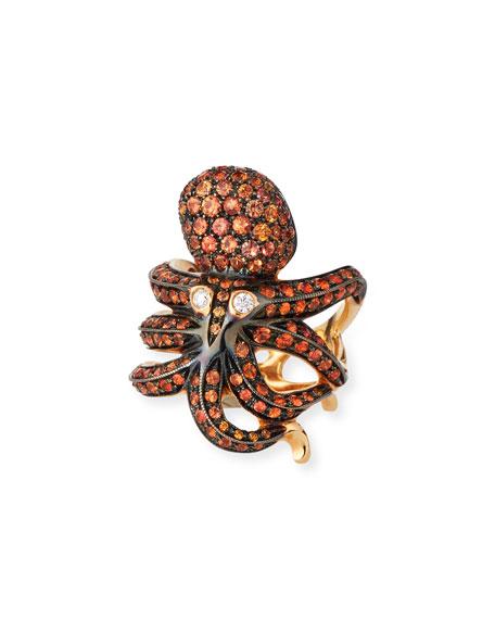 Roberto Coin 18K Rose Gold Orange Sapphire Octopus Ring