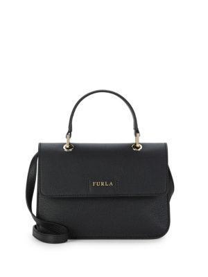 Furla Classic Leather Shoulder Bag In Onyx