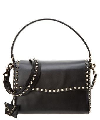 Valentino Garavani Valentino Rockstud Leather Single Handle Shoudler Bag In Black