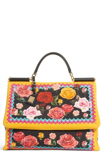Dolce   Gabbana Miss Sicily Floral Canvas Satchel - Black In Canvas St.  Foulard 187613188e4