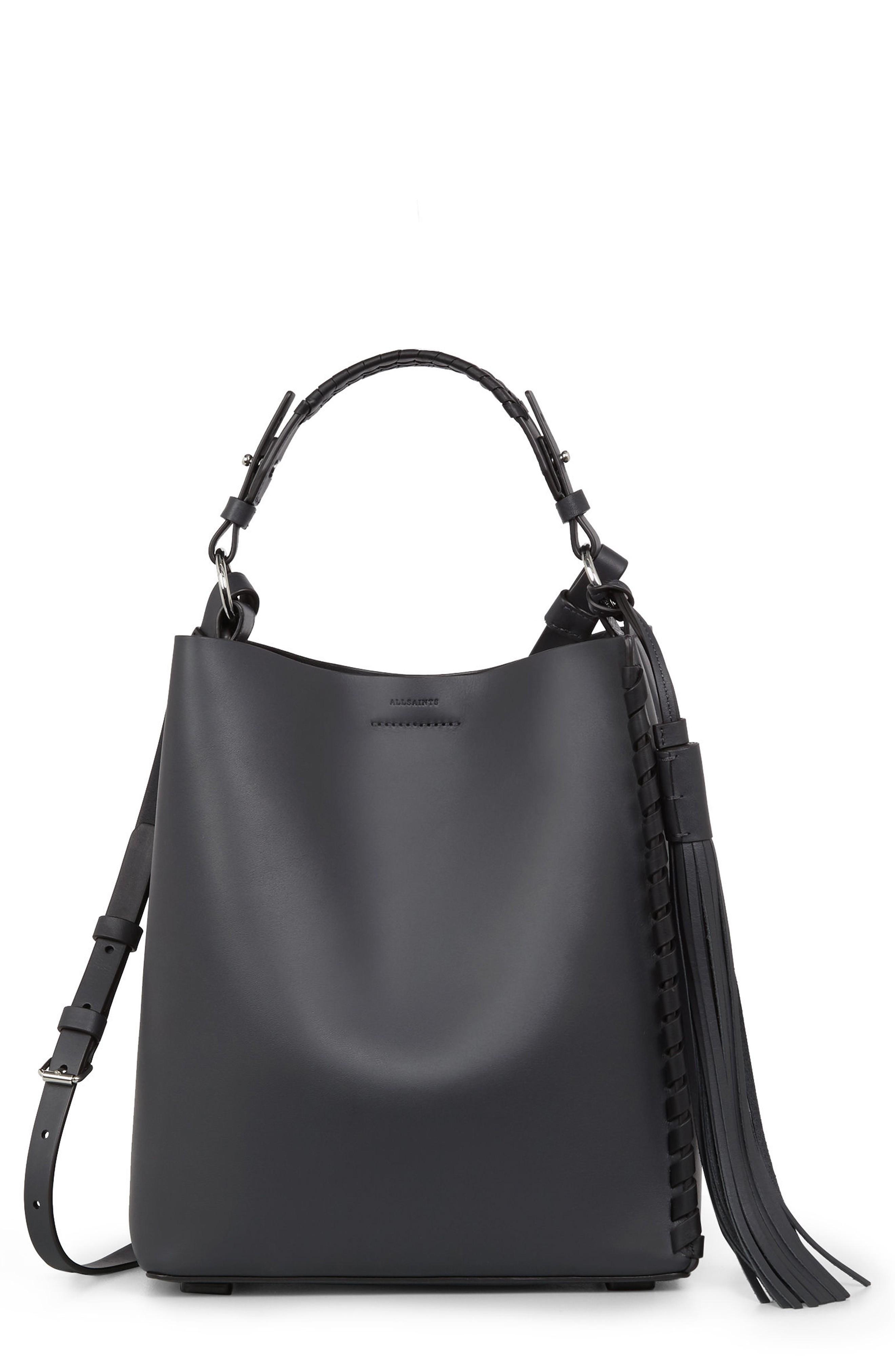 Allsaints Kepi Leather Shoulder Bag - Blue In Navy Black